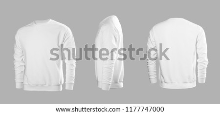 White men's sweatshirt with long sleeves in rear and side views