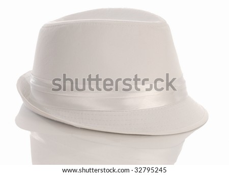 white mens dress hat with reflection on white background