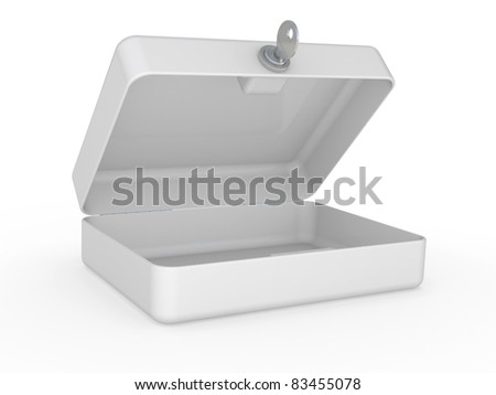 White metal box with key and lock on a white background