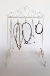 White metal stand for jewelry