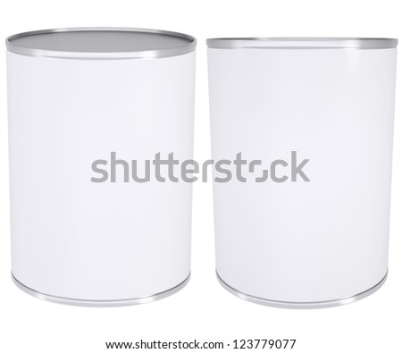 White metal tin. Isolated render on a white background