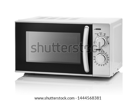 White microwave oven on a white background.