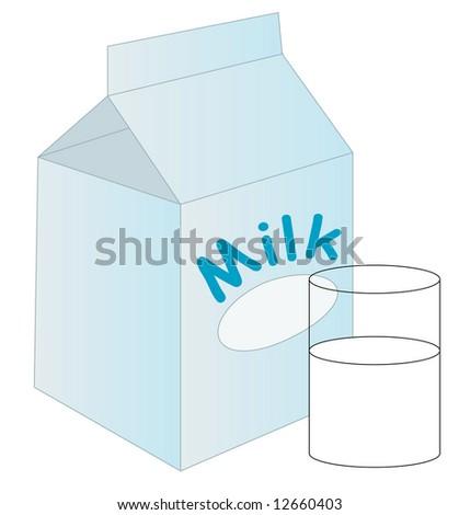 white milk carton with glass of milk sitting beside it