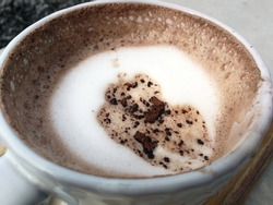 White milk coffee cocoa chocolate bubble hot morning coffee beverage caffeine drink takw a sip in cafe