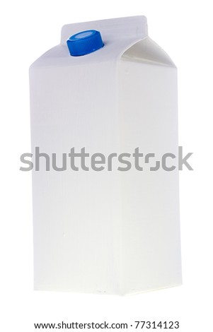 White milk or juice carton box isolated on a white background.