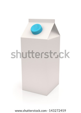 White milk or juice carton box isolated on a white background , Three-dimensional shape