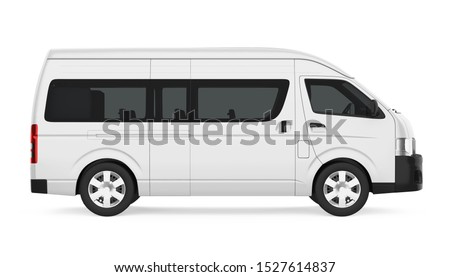 White Minibus Isolated (side view). 3D rendering Stock photo ©