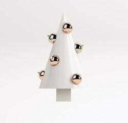 White minimal Christmas creative concept: Christmas tree with balls on white background. 3d rendering illustration.