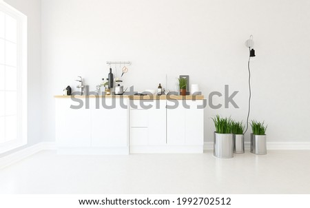 White minimalist kitchen room interior with dinning funiture on a wooden floor, decor on a large wall, white landscape in window. Home nordic interior. 3D illustration