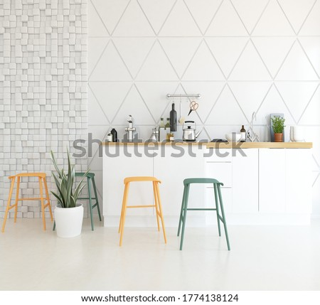 White minimalist kitchen room interior with dinning furniture on a wooden floor, decor on a large wall, white landscape in window. Home nordic interior. 3D illustration Stock photo ©