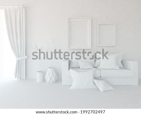 White minimalist living room interior with sofa on a wooden floor, decor on a large wall, white landscape in window with curtains. Home nordic interior. 3D illustration