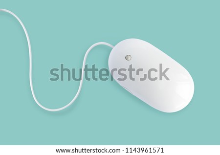 White minimalist mouse isolated on pastel mint, blue or turquoise background #1143961571