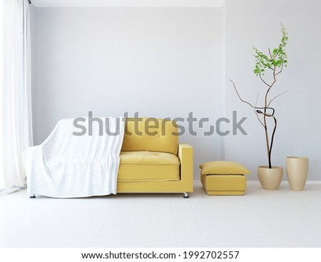 White minimalist room interior with sofa on a wooden floor, decor on a large wall, white landscape in window. Home nordic interior. 3D illustration