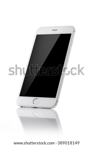 white mobile phone with black screen, reflection isolated white.