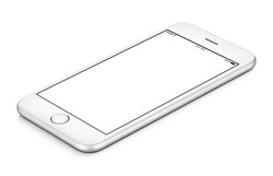 White mobile smartphone mockup clockwise rotated lies on the surface with blank screen isolated on white background, usable for your web project or design presentation.