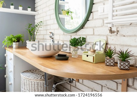 White modern bathroom. Bright room. Modern interior. Green plants on wooden counter and bathroom sink.