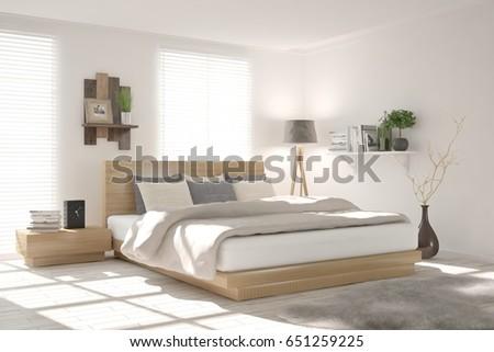 White modern bedroom. Scandinavian interior design. 3D illustration #651259225