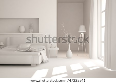 White modern bedroom. Scandinavian interior design. 3D illustration #747225541