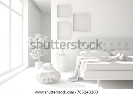 White modern bedroom. Scandinavian interior design. 3D illustration #785243203