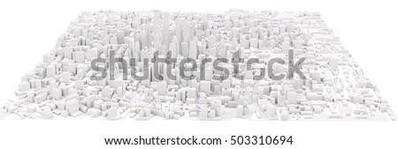White modern city. Isolated on white. 3D rendering stock photo