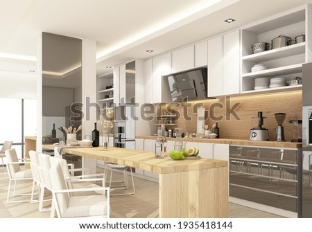 White modern contemporary kitchen with Kitchen equipment and island counter on wooden floor. 3d rendering