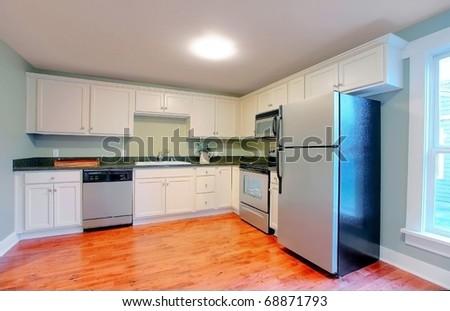 White modern empty kitchen with stainless still appliances.