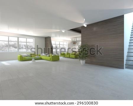 white modern interior design for living room - 3D rendering #296100830