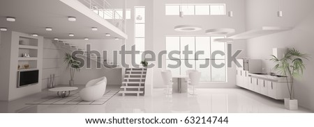 White modern interior of apartment panorama living room kitchen 3d render