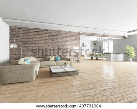 white modern interior of living room with brick wall -3D rendering
