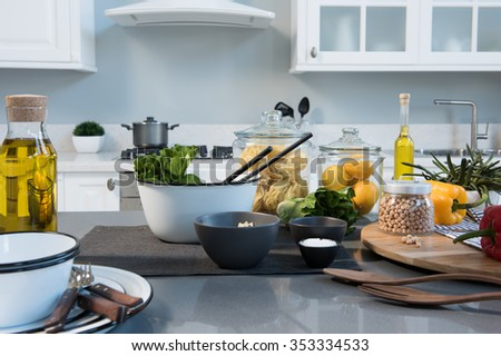 white modern kitchen and food preparation