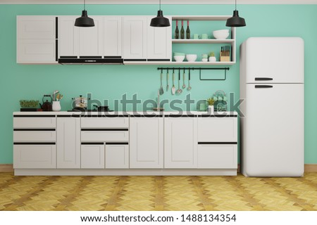 White modern kitchen decorated by green concrete wall and wooden floor, white couter and cabinet, black hanging lamps- 3d rendering kitchen interior. Photo stock ©