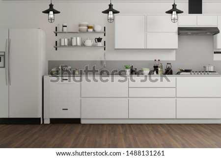 White modern kitchen decorated by white concrete wall and wooden floor, white couter and cabinet, - 3d rendering kitchen interior. Photo stock ©