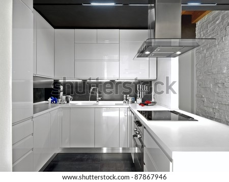 White Modern Kitchen With Steel Appliances Stock Photo 87867946 Shutterstock