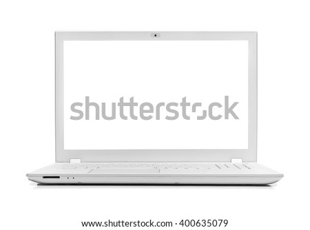 White modern laptop isolated on white background. #400635079