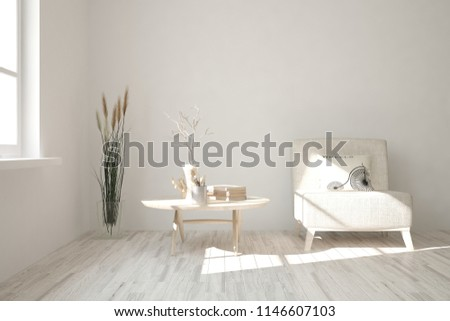 White modern room with armchair. Scandinavian interior design. 3D illustration #1146607103