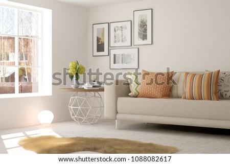 White modern room with sofa. Scandinavian interior design. 3D illustration #1088082617