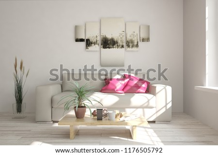 White modern room with sofa. Scandinavian interior design. 3D illustration #1176505792