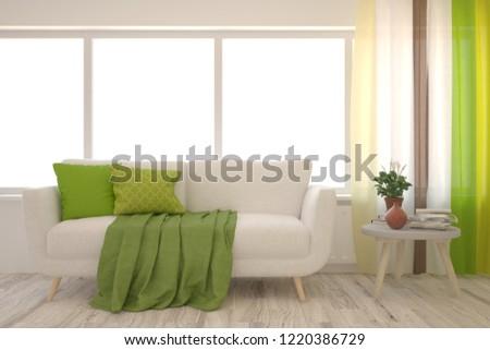 White modern room with sofa. Scandinavian interior design. 3D illustration #1220386729