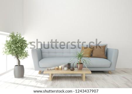 White modern room with sofa. Scandinavian interior design. 3D illustration #1243437907