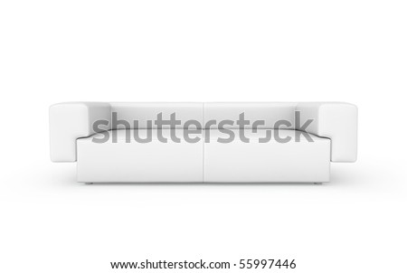 white modern sofa isolated on white