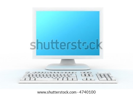 white monitor front side - stock photo