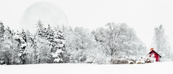 White Moon rising over a red cabin situated next to a snowy forest.