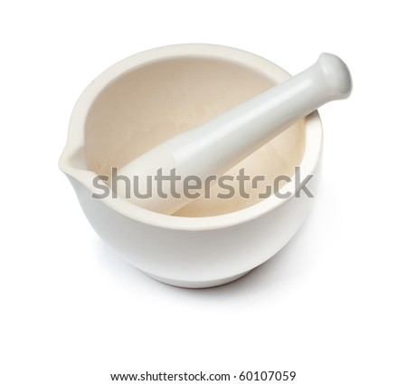 White mortar and pestle. Isolated on white