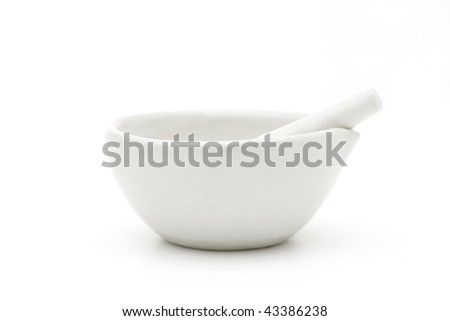 White mortar and pestle over white background