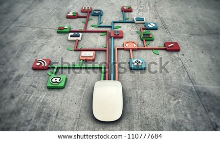 white mouse on concrete floor with media icons connected together