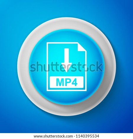 White MP4 file document icon isolated on blue background. Download MP4 button sign. Circle blue button with white line