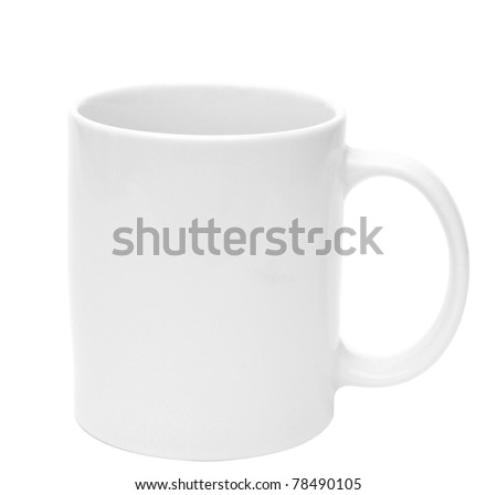 White mug empty blank for coffee on white background