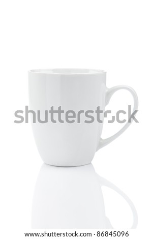 White mug isolated on a white background, with reflections