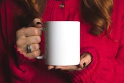 white mug mockup , red jacket