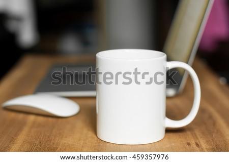 White mug on the desktop #459357976